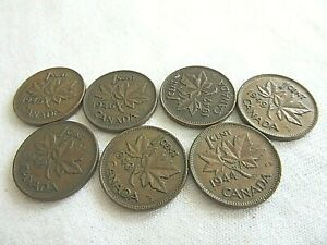 LOT OF 7 CANADA COINS 1 CENT 1942 1943 1944 1945 1946 1947&1949   .6.O/1