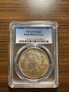1921 P PEACE SILVER DOLLAR $1 PCGS MS 63 TYPE 1 HIGH RELIEF  GRADE KEY DATE