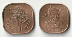 1974 SWAZILAND 2 CENTS COIN