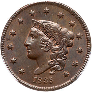 Click now to see the BUY IT NOW Price! 1835 N 8 PCGS MS 63 BN HEAD OF 36 MATRON OR CORONET HEAD LARGE CENT COIN 1C