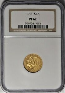 Click now to see the BUY IT NOW Price! 1911 $2.50 NGC PF 62 CHOICE PROOF PR GOLD INDIAN QUARTER EAGLE COIN   191 MINTED