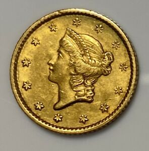 1853 $1 TYPE 1 INDIAN PRINCESS GOLD COIN IN XF CONDITION