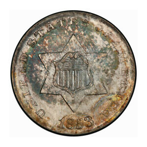 Click now to see the BUY IT NOW Price! 1853 3CS THREE CENT SILVER PCGS MS67   CAC  3204 1