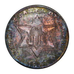 Click now to see the BUY IT NOW Price! 1857 3CS THREE CENT SILVER PCGS MS66   CAC  3082