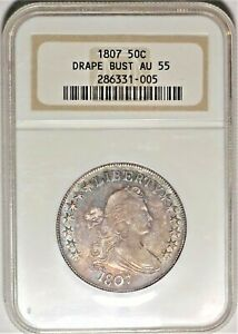 1807 50C NGC AU 55 CHOICE ALMOST UNCIRCULATED DRAPED BUST HALF DOLLAR TYPE COIN