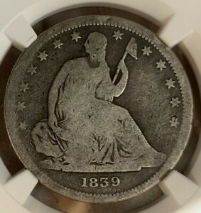 1839     NO DRAPERY    SEATED LIBERTY 50C   NGC AG3   ERROR SLAB MISLABELED