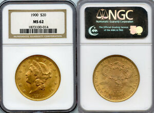 1900 $20 GOLD COIN NGC MS62
