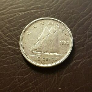 CANADA 1952 SILVER 10 CENTS DIME GEORGE VI COIN TEN CENT