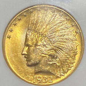 1932 $10 INDIAN GOLD COIN NGC MS 63  OLD HOLDER CAC CANDIDATE
