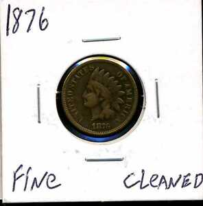 1876 1C INDIAN HEAD CENT WITH FINE DETAILS CLEANED 01163
