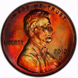 2010 D LINCOLN  SHIELD  CENT  TONED TONING RAINBOW 1.254