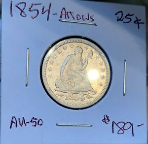 1854 O ARROWS   LIBERTY SEATED QUARTER    NEW ORLEANS MINT   NICE AU