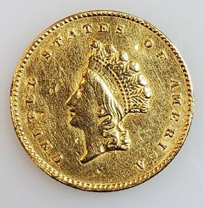 1855 $1 PRINCESS HEAD TYPE 2 GOLD COIN W/ XF DETAILS