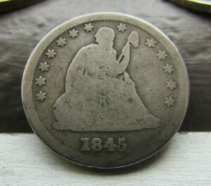 1845/45   REPUNCHED DATE FS 301   SEATED LIBERTY 25C   TOUGH DATE    VARIETY
