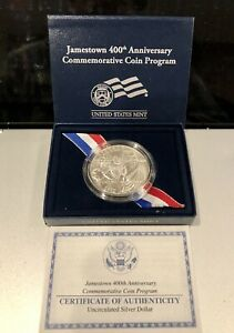 2007  JAMESTOWN 400TH ANNIVERSARY UNCIRCULATED COMMEMORATIVE SILVER DOLLAR COIN