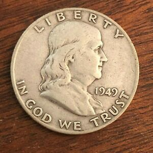 1949 D BEN FRANKLIN HALF DOLLAR   US 50C 90  SILVER COIN