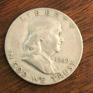 1949 S BEN FRANKLIN HALF DOLLAR   US 50 CENT 90  SILVER