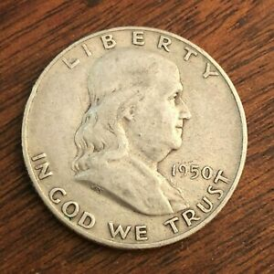 1950 D BEN FRANKLIN HALF DOLLAR   US 50C 90  SILVER COIN