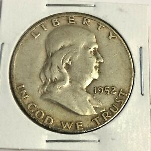 1952 S BEN FRANKLIN HALF DOLLAR   US 50C 90  SILVER COIN