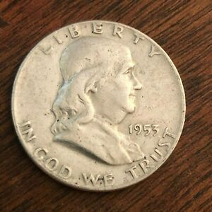 1953 BEN FRANKLIN HALF DOLLAR   US 50C 90  SILVER COIN