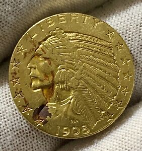 1908 INDIAN HEAD $5 HALF EAGLE AMERICAN GOLD COIN  UNCIRCULATED 1ST YEAR ISSUE