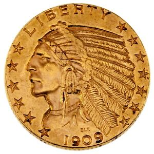 1909 D $5 GOLD INDIAN HEAD HALF EAGLE IN AU  CONDITION