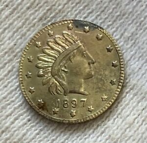 1897 ALASKA GOLD ONE PINCH COIN REEDED EDGE ORIGINAL HARTS GOLD COINS OF WEST