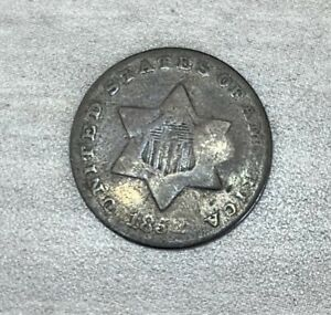 1852 THREE CENT US SILVER COIN