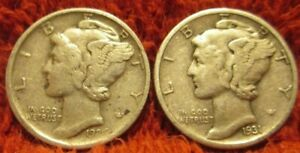 1926 D & 1931 D MERCURY DIMES BOTH HIGH END VF    INVATX   LOT OF TWO