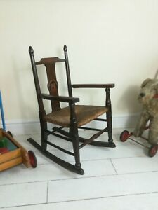 WILLIAM BIRCH LIBERTY ARTS AND CRAFTS CHILDS NURSERY RHYME ROCKING CHAIR STAMPED