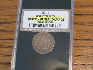 1862 ERROR COIN INDIAN HEAD CENT ROTATED 45 DEGREES CW IN PLASTIC CASE