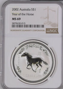 Click now to see the BUY IT NOW Price! AUSTRALIA 2002   PERTH MINT LUNAR SERIES I   HORSE SILVER $1 COIN   NGC MS69.