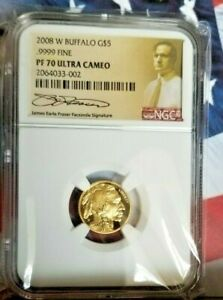 2008 W $5 GOLD BUFFALO PROOF NGC PF70 UCAM 1/10 OZ.JAMES EARLE FRASER    B8