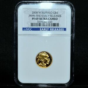 2008 W $5 PROOF GOLD AMERICAN BUFFALO  NGC PF 69  1/10 .9999 ER EARLYTRUSTED