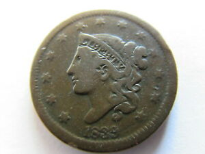 1839 CORONET HEAD LARGE CENT 1C EARLY AMERICAN COPPER COIN US ONE PENNY