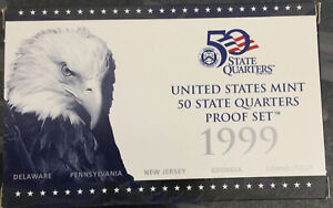 1999 S US MINT PROOF 50 STATE QUARTER SET WITH COA. DEL PENN NEW JER GEO CON