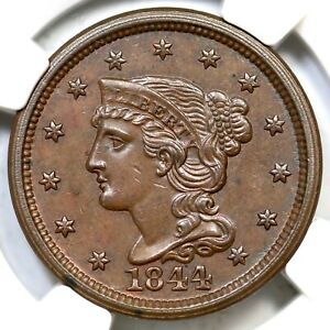 1844 N 7 R 3  NGC MS 62 BN BRAIDED HAIR LARGE CENT COIN 1C