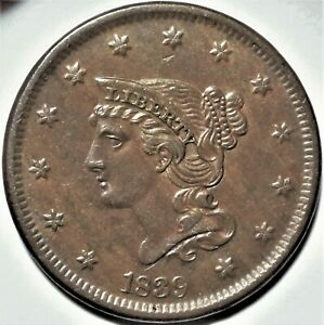 1839 N 8 BRAIDED HAIR LARGE CENT CHOICE ALMOST UNCIRCULATED EARLY COPPER 1C