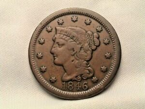 1846  BRAIDED HAIR LARGE CENT.   TALL DATE  N 25 R5  MDS