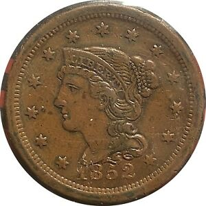 1852 LARGE CENT IN VF