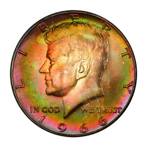 Click now to see the BUY IT NOW Price! 1966 50C KENNEDY HALF DOLLAR   TYPE 2 SILVER CLAD PCGS MS67  3148 10 MONSTER