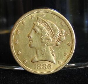 1886 S LIBERTY HEAD $5 GOLD HALF EAGLE COIN PRE 1933 AU VARIETY 2 WITH MOTTO