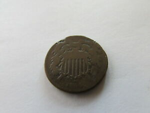 1864 TWO CENTS LARGE COPPER COIN US 2 CENT PHILADELPHIA MINT 2C ODD DENOMINATION