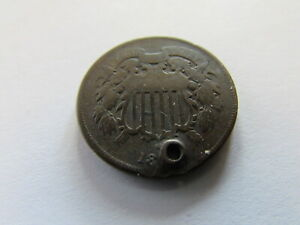 186? HOLED TWO CENTS COPPER COIN US 2 CENT PHILADELPHIA MINT 2C ODD DENOMINATION