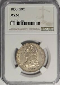 1838 50C NGC MS61 UNCIRCULATED UNC CAPPED BUST HALF DOLLAR REEDED EDGE TYPE COIN
