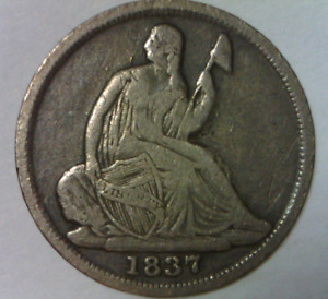 1837 SEATED LIBERTY NO STARS HALF DIME FINE DETAILS QUALITY US TYPE COIN