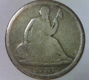 1837 SEATED LIBERTY NO STARS HALF DIME GOOD GRADE QUALITY US TYPE COIN