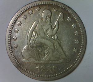 1858 SEATED LIBERTY QUARTER DOLLAR STRONG FINE NO MOTTO US TYPE COIN