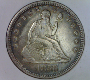 1858 SEATED LIBERTY QUARTER DOLLAR STRONG LY FINE NO MOTTO US TYPE COIN