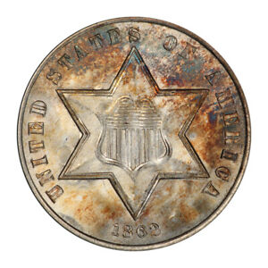 Click now to see the BUY IT NOW Price! 1862 3CS THREE CENT SILVER PCGS MS67   CAC  3016 1 TOP POP NONE FINER
